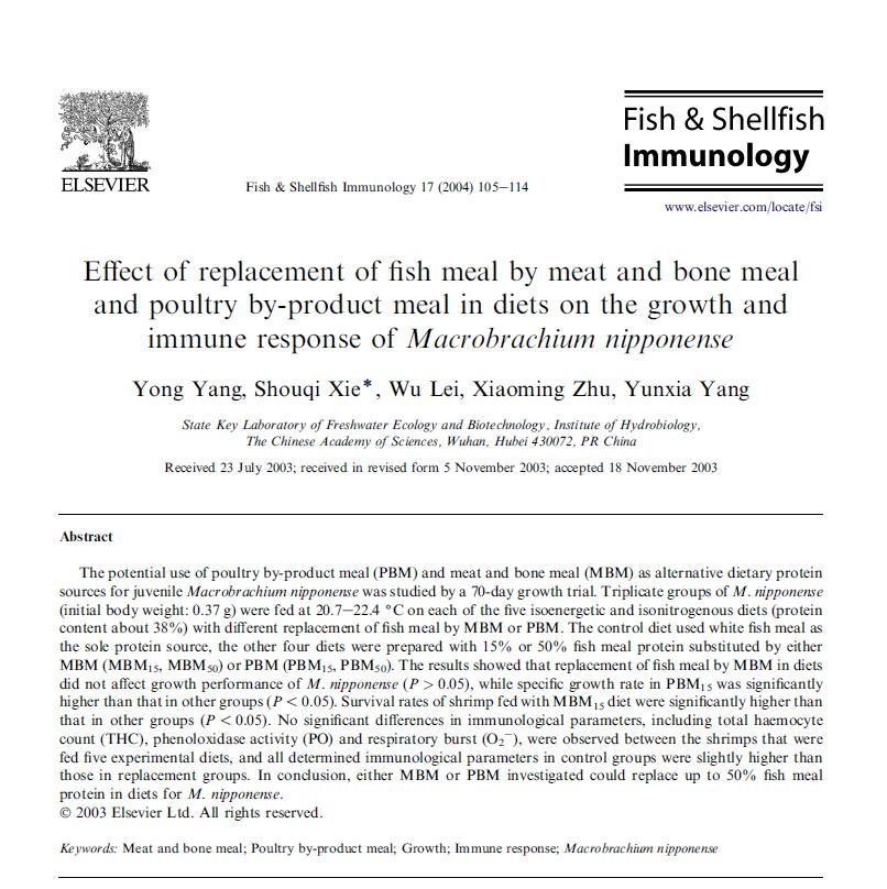 Yang Y, Xie S Q, Lei W, Zhu X M, Yang Y X. 2004. Effect of replacement of fish meal by meat and bone meal and poultry by-product meal in diets on the growth and immune response of Macrobrachium nipponense. Fish & Shellfish Immunology, 17: 105-114.