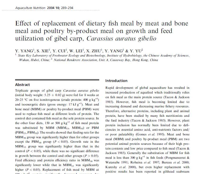 Wang S, Liu Y J, Tian L X, Xie M Q, Yang H J, Wang Y, Liang G Y. 2005. Quantitative dietary lysine requirement of juvenile grass carp Ctenopharyngodon idella. Aquaculture, 249(1-4): 419-429.